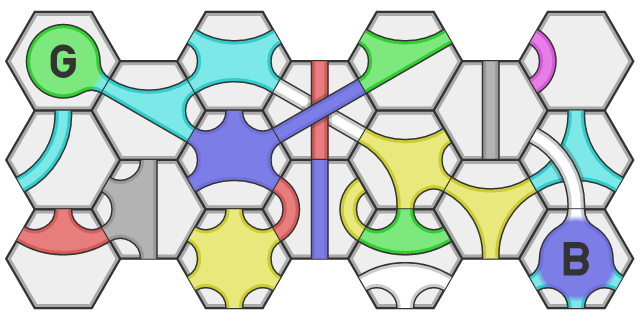 Game board of hexagonal tiles with channels containing random colors.